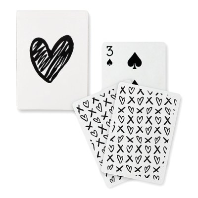 "Black Foil ""Modern Heart"" Playing Cards"
